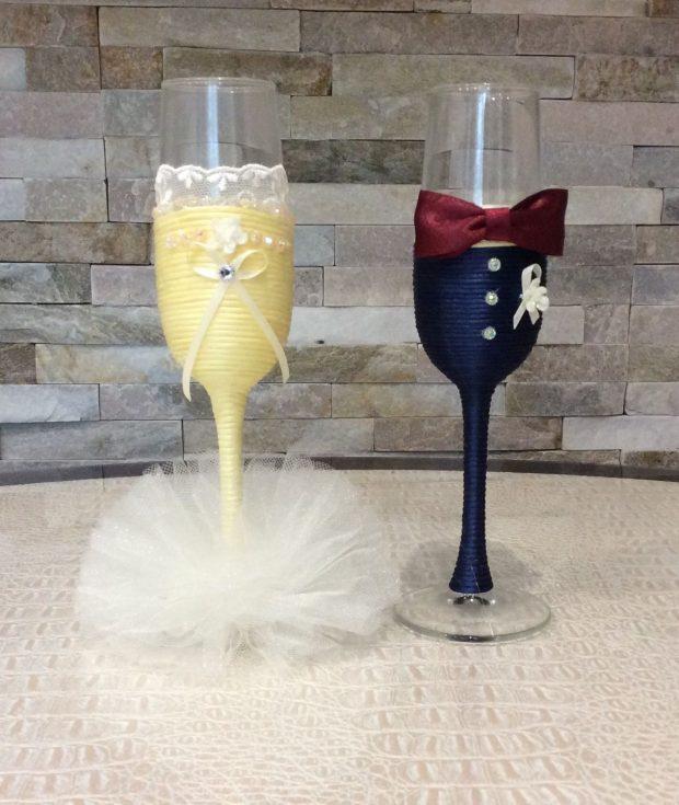 свадебные бокалы белый и цвет марсала
