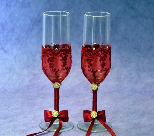 свадебные бокалы цвет марсала с золотом