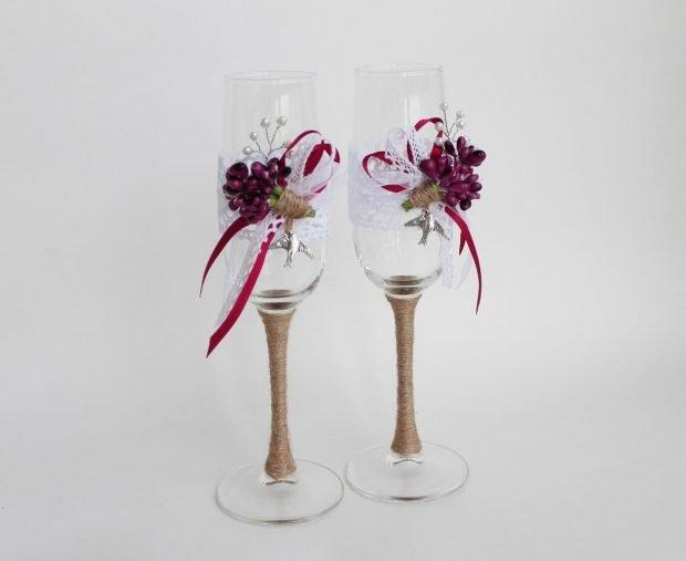 свадебные бокалы декор цвет марсала