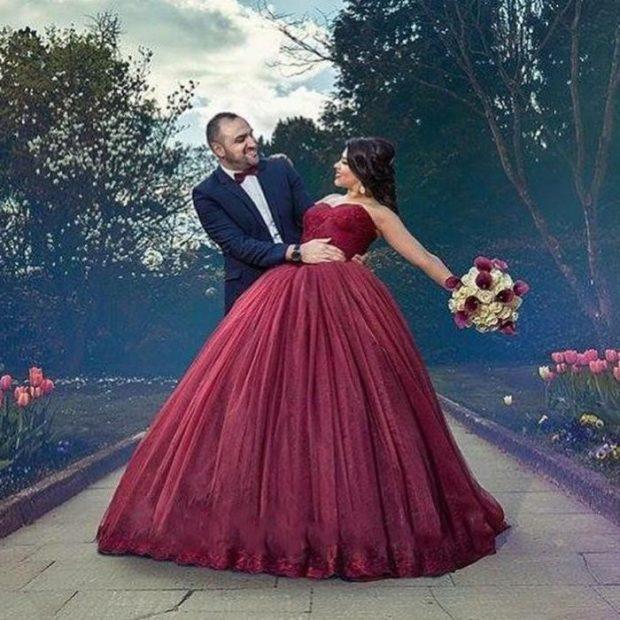 свадебное платье цвет марсала пышное