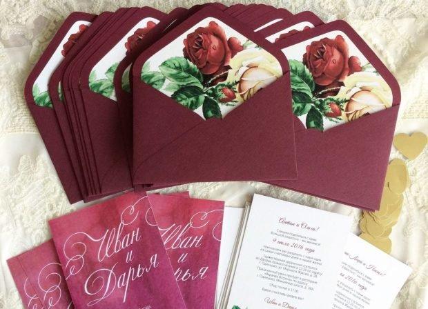 Свадьба в цвете марсала: приглашение