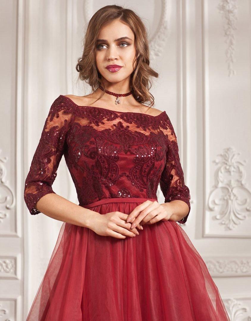 свадебное платье цвет марсала ажурный верх пышная юбка