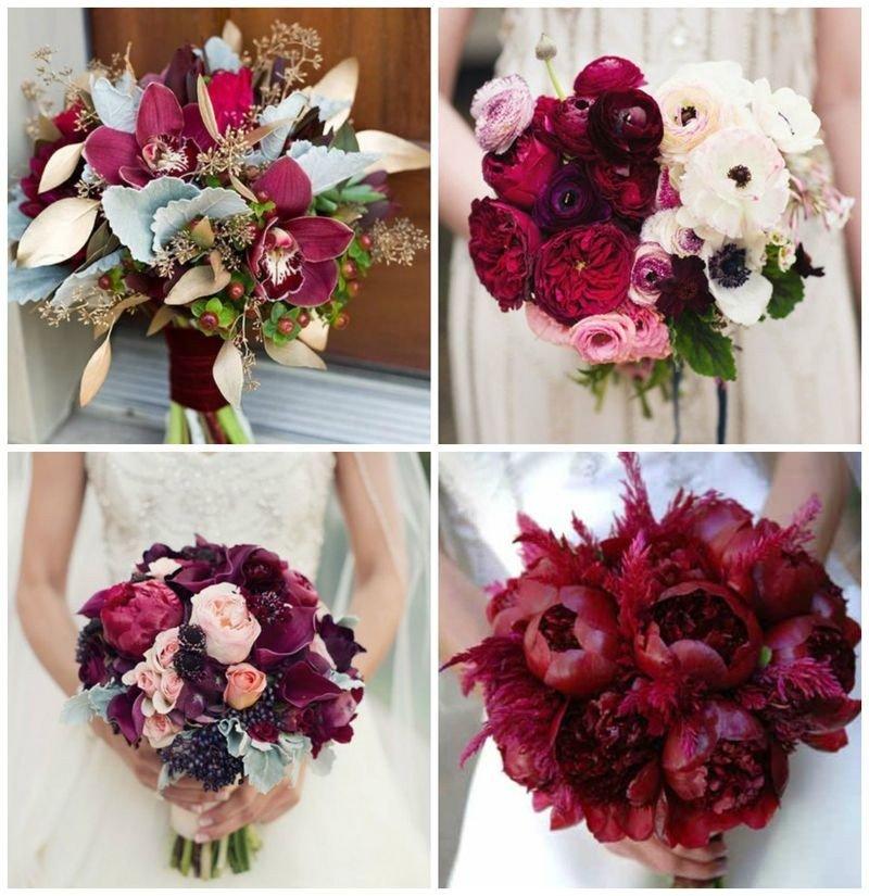 свадебные букеты цвет марсала
