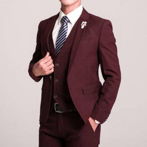 свадебный мужской костюм цвет марсала