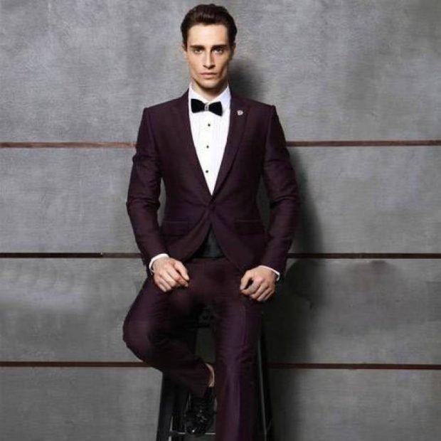 свадебный мужской костюм цвет марсала тройка