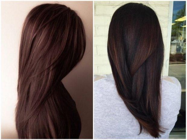 волосы тренд 2019 2020: натуральный каштановый цвет
