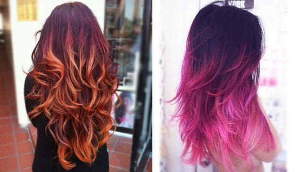 тренды 2019 2020 волосы: омбре рыжее и бордово-розовое