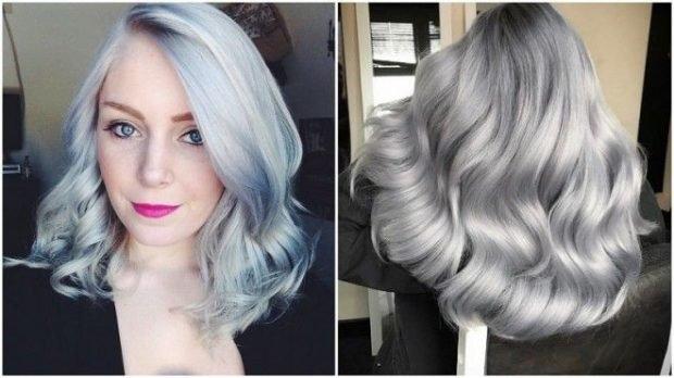 тренды 2019 2020 волосы: голубые серые
