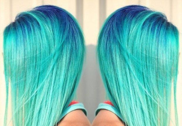 тренды 2019 2020 волосы: яркие голубо-зеленые