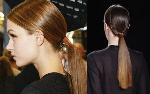 тренды 2019 2020 волосы: низкий хвост