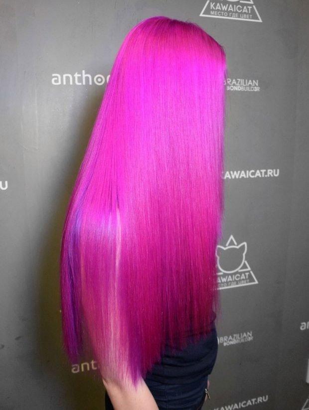 тренд цвета волос 2019 2020: пурпурные яркие