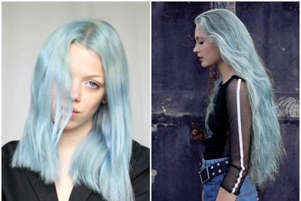тренд цвета волос 2019 2020: серо-голубые