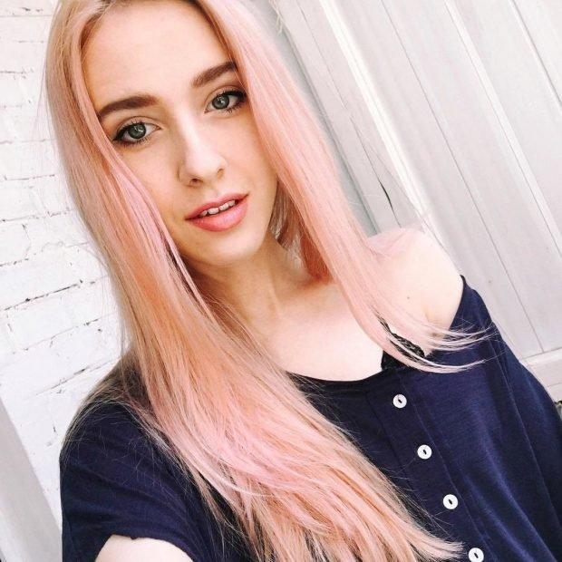 тренд цвета волос 2019 2020: розовый пыльный