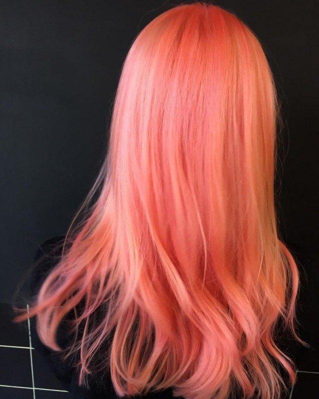 тренд цвета волос 2019 2020: персиковые яркие