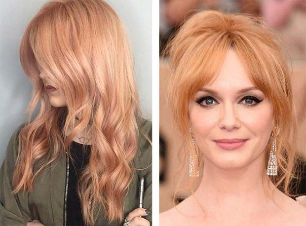 тренд цвета волос 2019 2020: нежный персик
