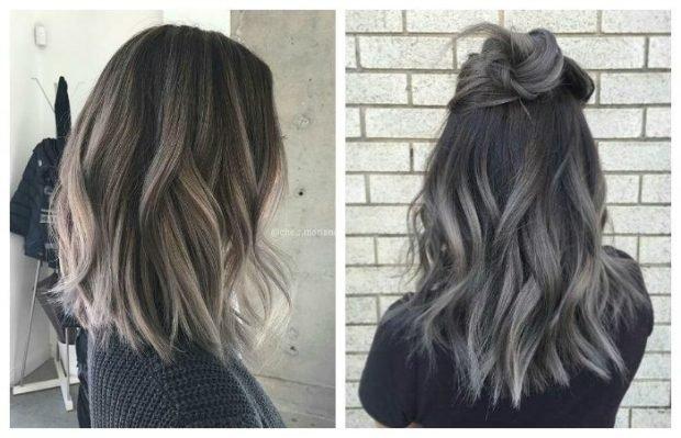тренд цвета волос 2019 2020: темно-серые омбре