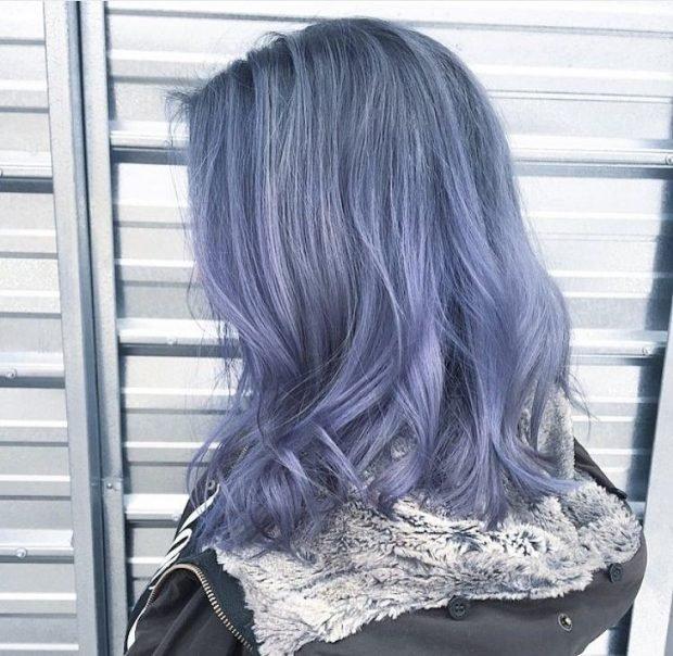 тренд цвета волос 2019 2020: серые с фиолетовым