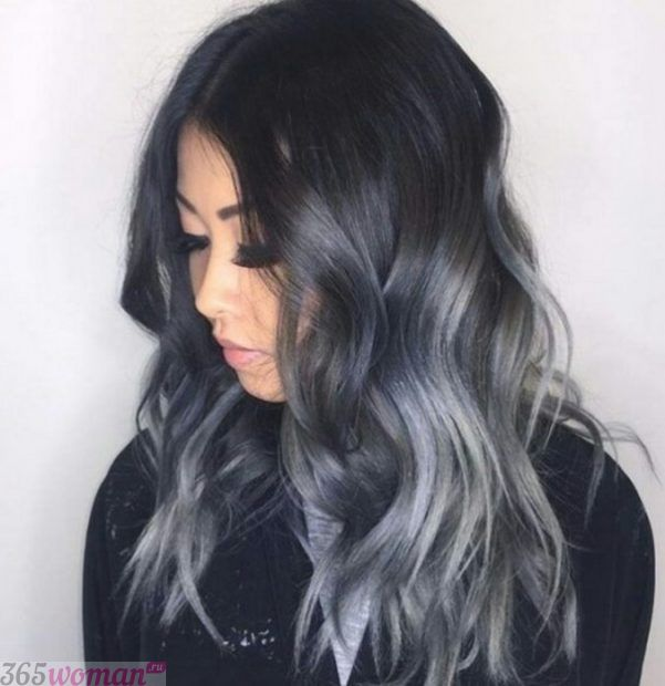 тренд цвета волос 2018 2019: черно-серые