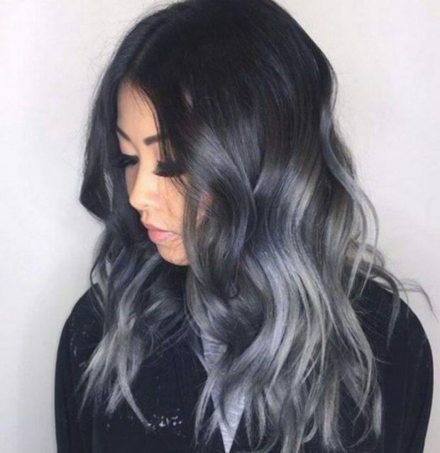 тренд цвета волос 2019 2020: черно-серые