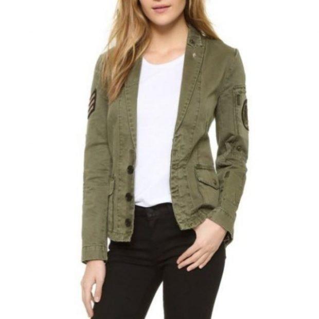 куртка зеленая короткая легкая тканевая