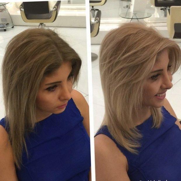 стрижка лесенка на среднюю длину волос без челки