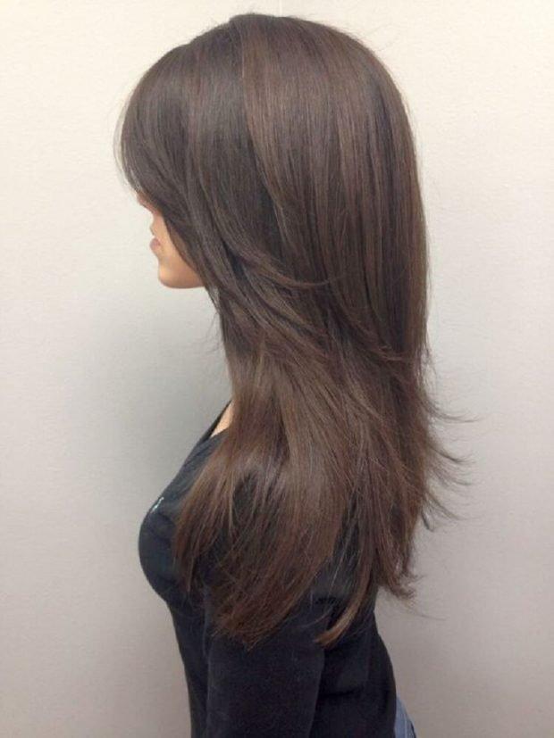 стрижка лесенка на длинные волосы без челки