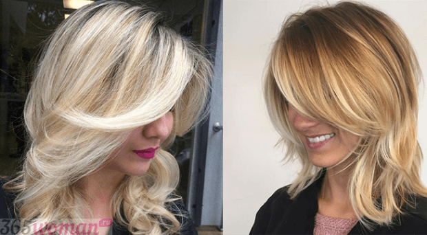 стрижка каскад на среднюю длину волос без челки