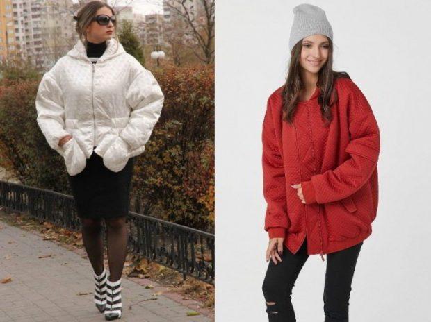 белая куртка парка, красная куртка парка с серой шапкой