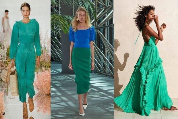 Модные цвета весна лето 2020: платье зеленая юбка синяя кофта