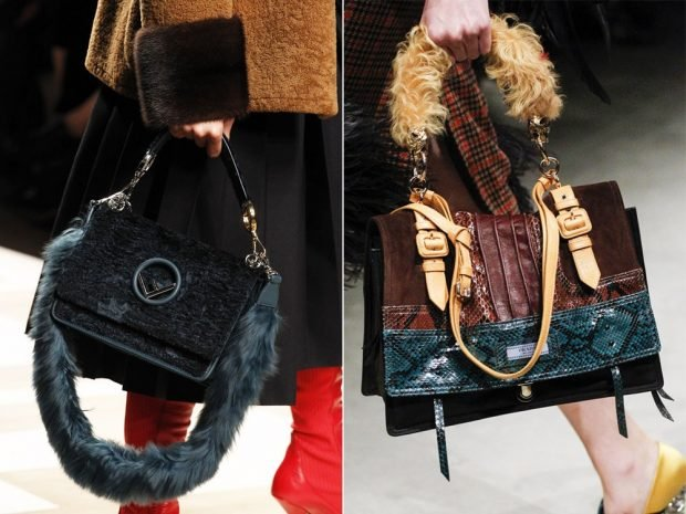 сумка с меховым ремешком